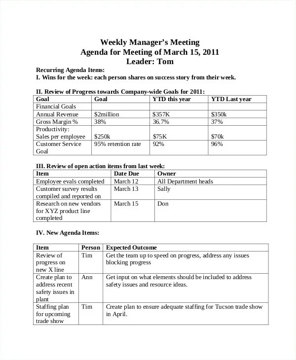 Weekly Agenda Templates - 10+ Free Word, PDF Format Download Free