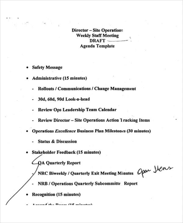 Staff Meeting Agenda Template zesloka