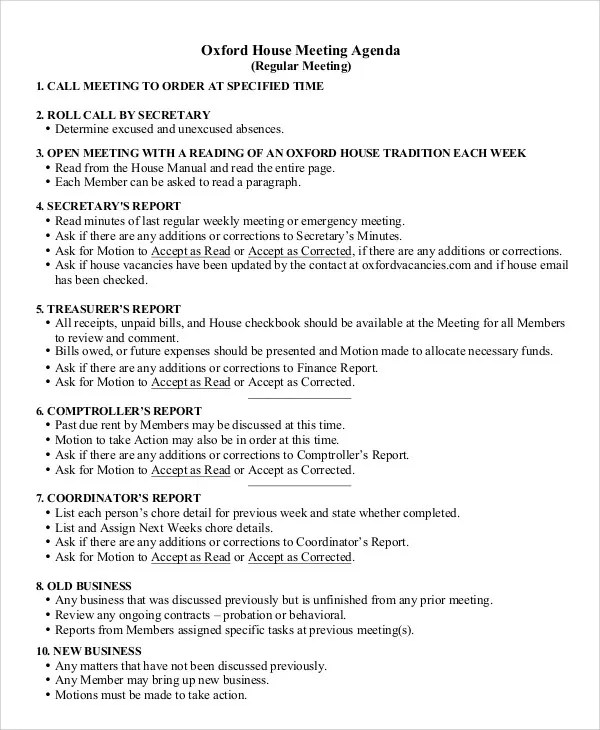 Weekly Agenda Templates - 10+ Free Word, PDF Format Download Free