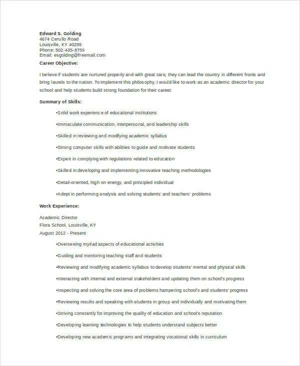 10+ Academic Curriculum Vitae Templates - PDF, DOC Free  Premium