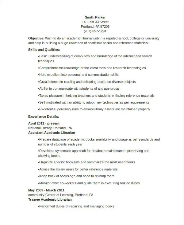9+ Librarian Resume Templates - Free Sample, Example Format Download