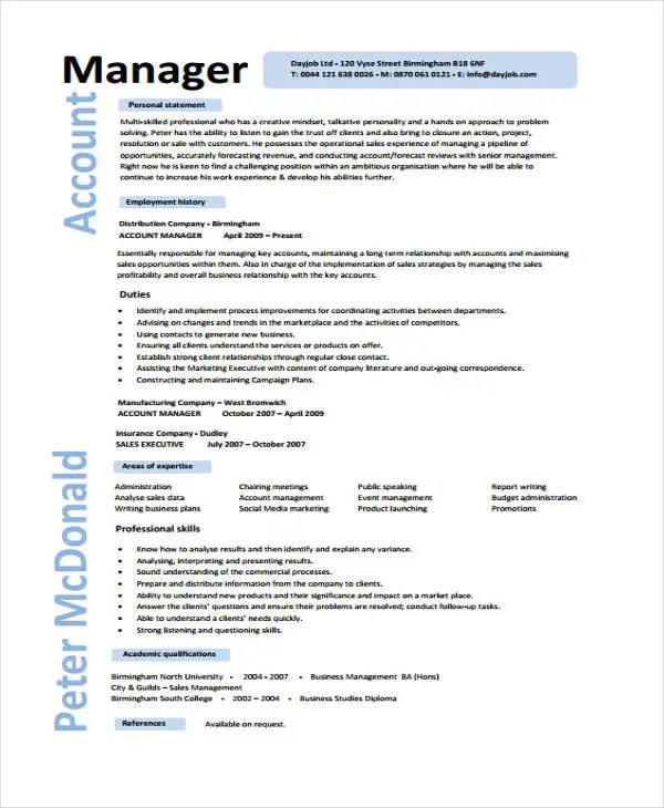10+ Account Manager Resume Templates, Samples, Examples Format