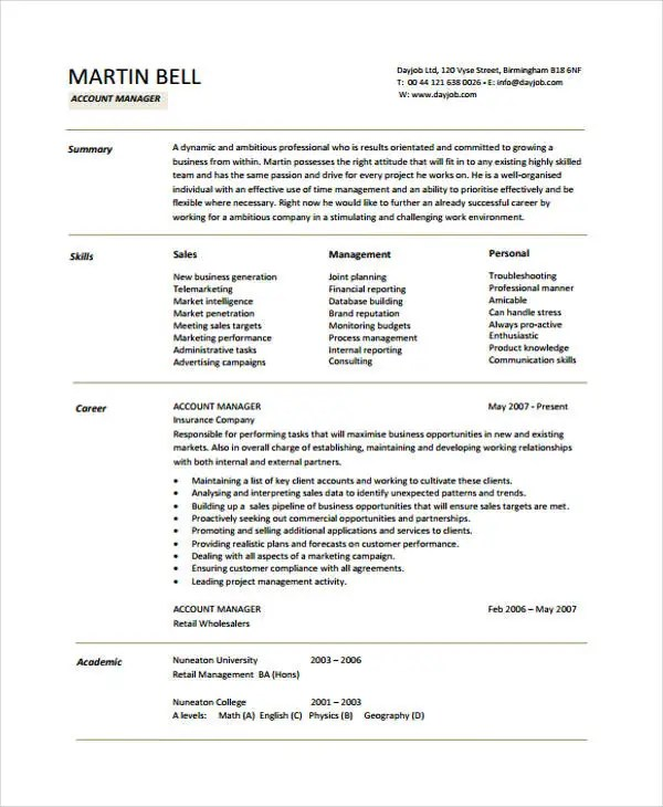 10+ Account Manager Resume Templates, Samples, Examples Format - advertising account manager resume