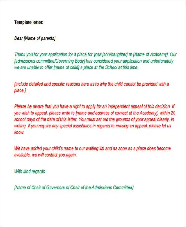 8+ College Rejection Letters - Free Sample, Example Format - rejection letter sample