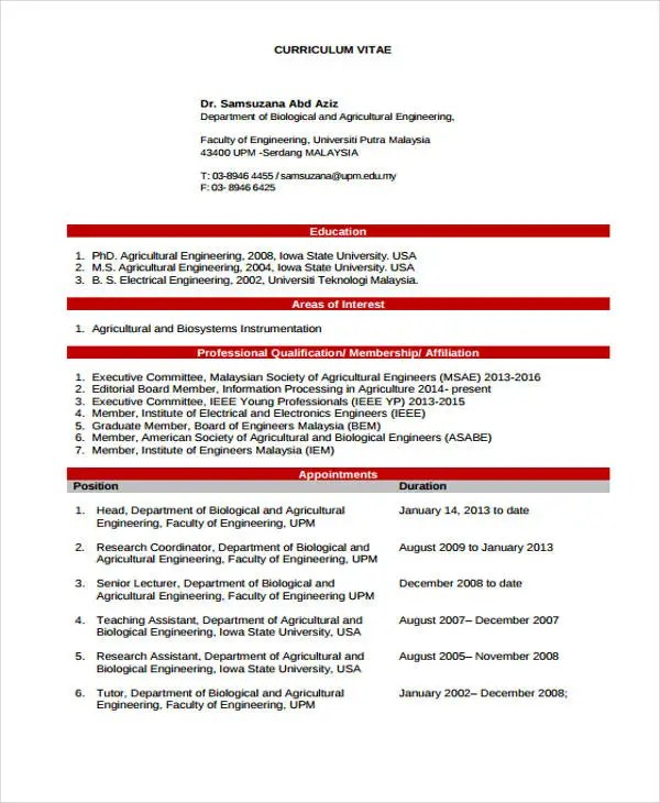 10+ Engineer Curriculum Vitae Templates - PDF, DOC Free  Premium - engineering cv template