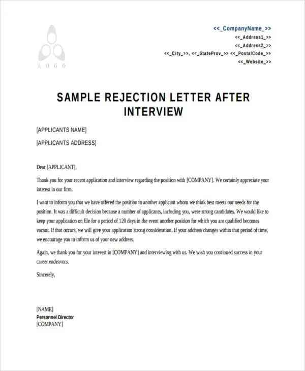 10+ Applicant Rejection Letters - Free Sample, Example Format - investor rejection letter samples