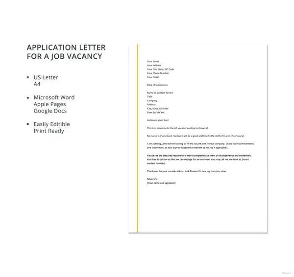 29+ Job Application Letter Examples - PDF, DOC Free  Premium - Letter Examples
