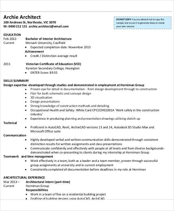 sample cv for internship pdf