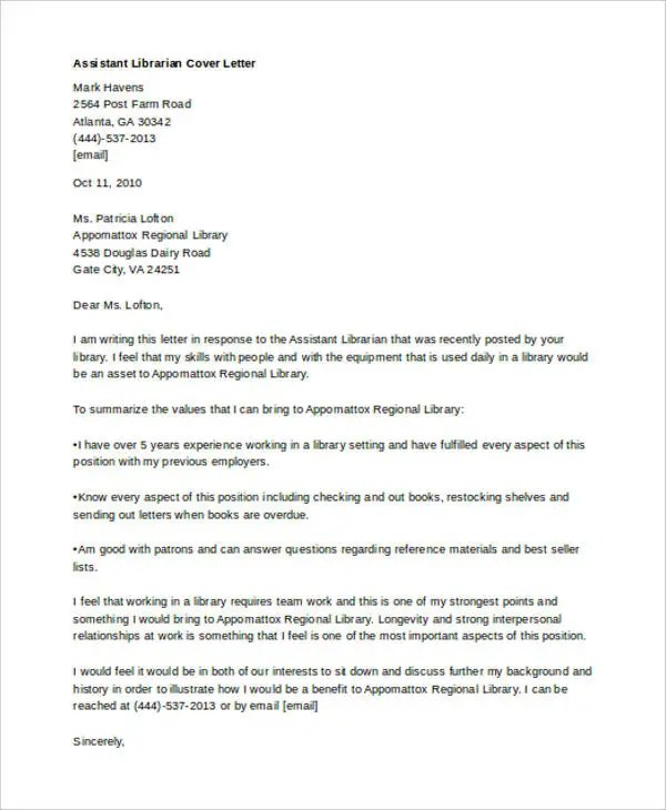 9+ Librarian Cover Letters - Free Sample, Example Format Download - library istant cover letter
