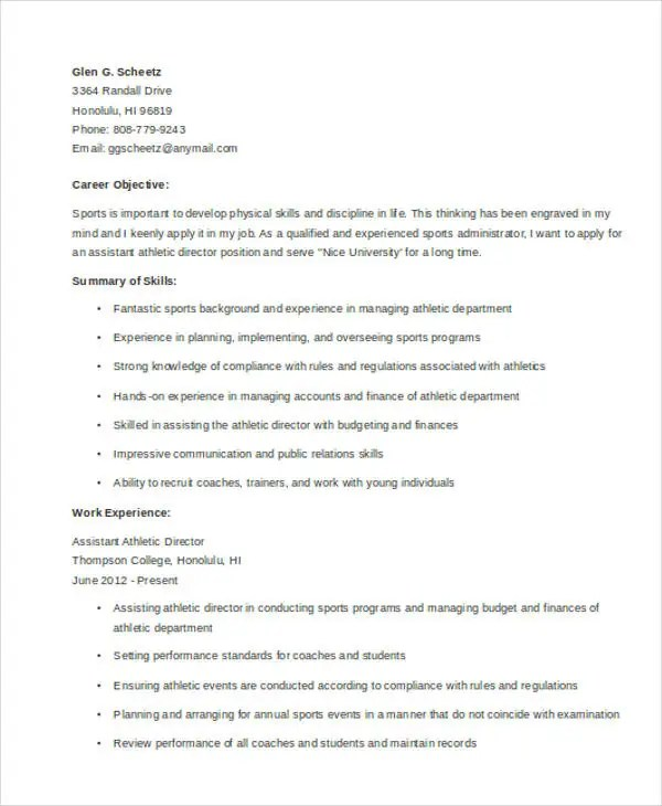 8+ Athletic Director Resume Templates - PDF, DOC Free  Premium