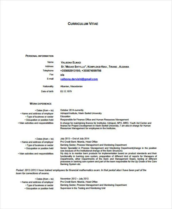 Back Office Executive Resume CV IndianJobTalks - mandegarinfo