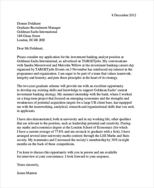 cover letter examples for finance
