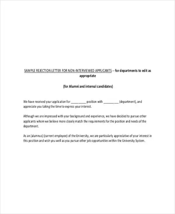 7+ Interview Rejection Letters - Free Sample, Example Format