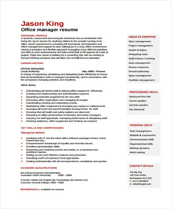 resume templates types