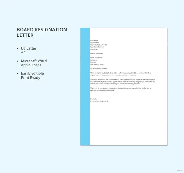 7+ Board Resignation Letters - Free Sample, Example Format Download