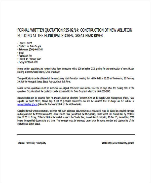 32+ Quotation Formats in PDF Free  Premium Templates