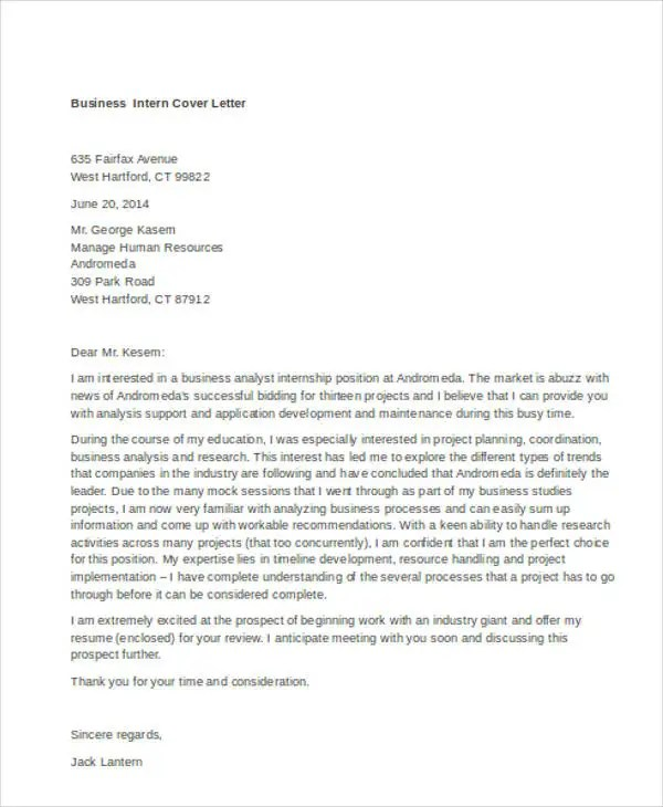 9+ Internship Cover Letter - Free Sample, Example Format Download - cover letter internship
