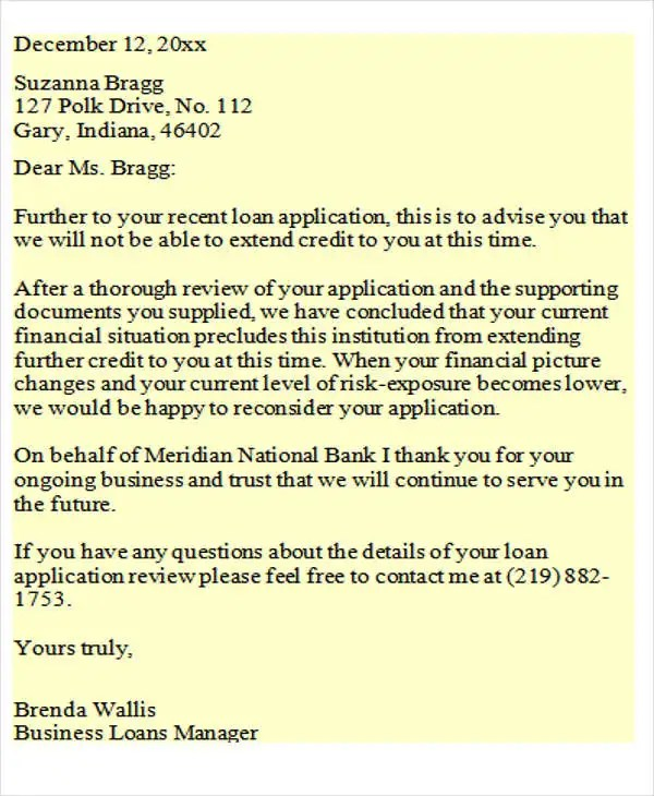 Loan Rejection Letters - 7+ Free Sample, Example Format Download - investor rejection letter samples