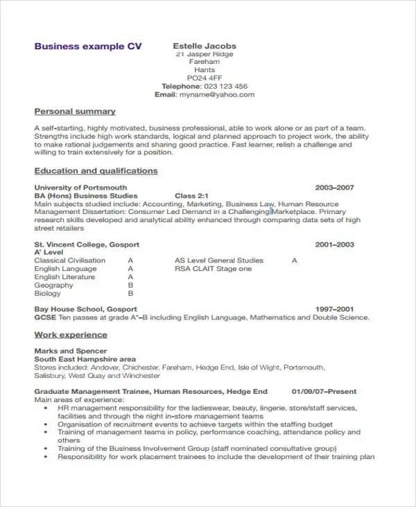 9+ Management Resume Templates - Free Sample, Example Format - stage management resume