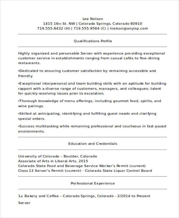 10+ Server Resume Templates - PDF, DOC Free  Premium Templates - server resume