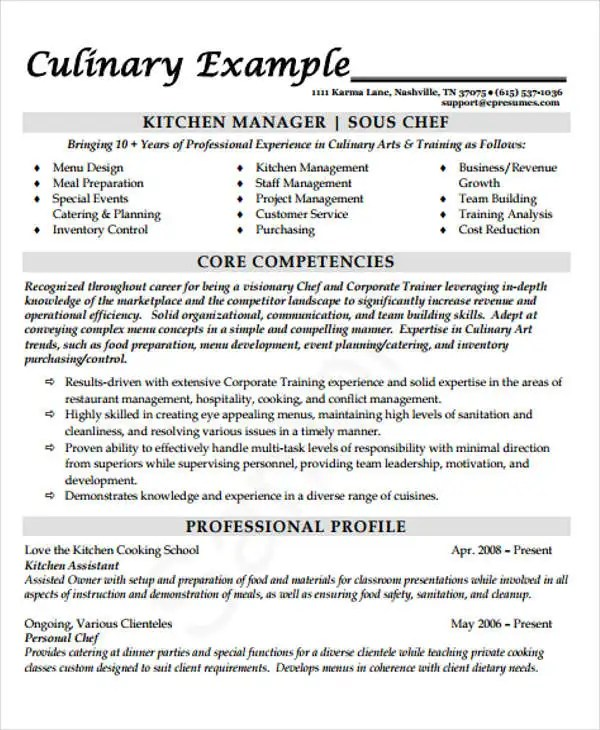 9+ Cook Resume Templates - PDF, DOC Free  Premium Templates - research and development chef sample resume