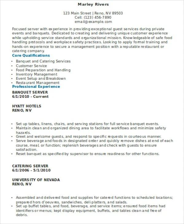 10+ Server Resume Templates - PDF, DOC Free  Premium Templates - food and beverage server resume