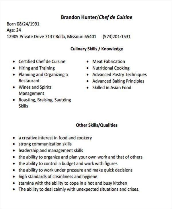 9+ Cook Resume Templates - PDF, DOC Free  Premium Templates