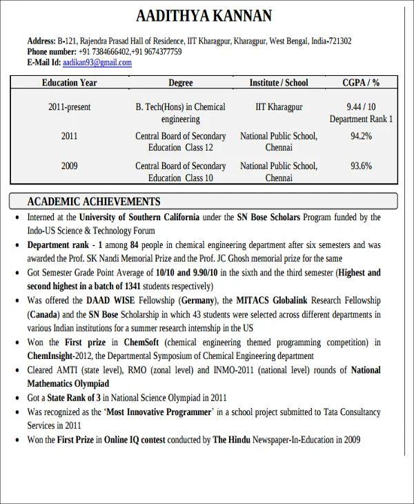 simplified resume format