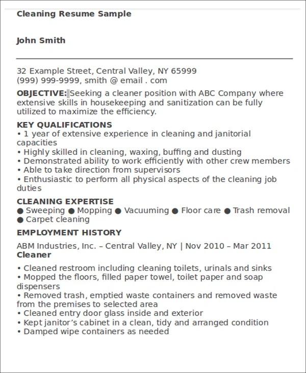 Cleaning Job Resume Sample Sample Barista Resume Barista  Cleaning Resume