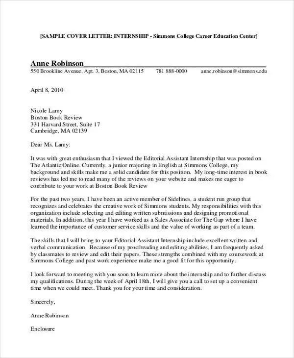 sample of cover letter for students