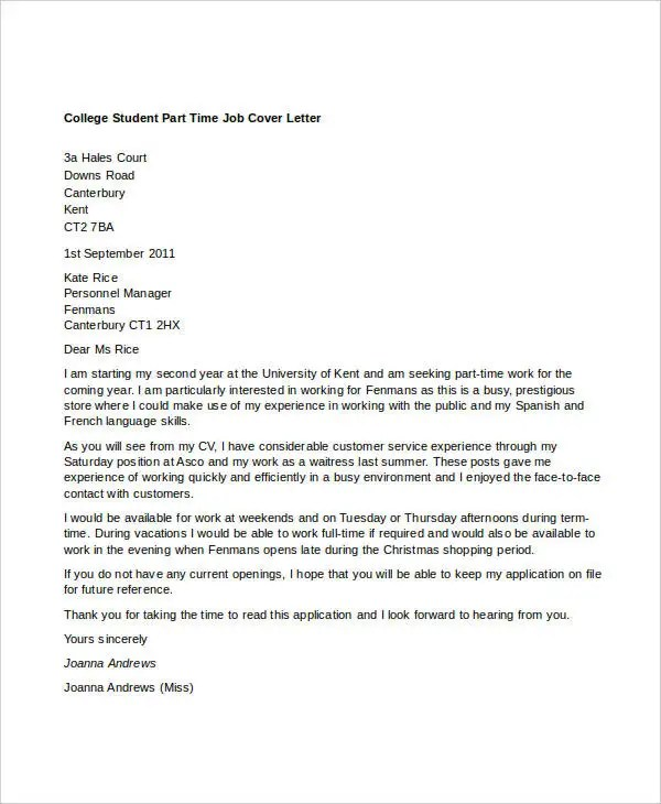 11+ Part-Time Job Cover Letter Templates - Free Sample, Example - how to do a cover letter for a cv