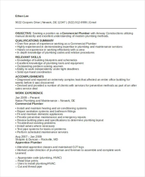 9+ Sample Plumber Resume Templates - PDF, DOC Free  Premium Templates