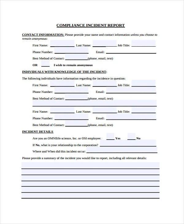Incident report form template - visualbrainsinfo - incident form template