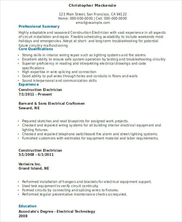 electrician resume sample commercetools