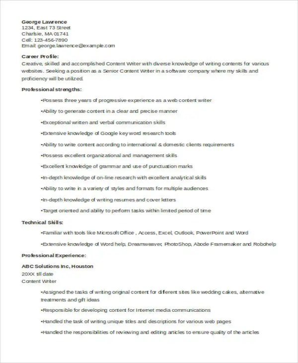 10+ Writer Resume Templates - PDF, DOC Free  Premium Templates - write a resume