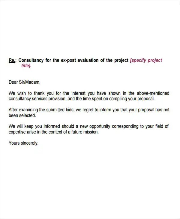 10+ Bid Rejection Letter Templates Free  Premium Templates