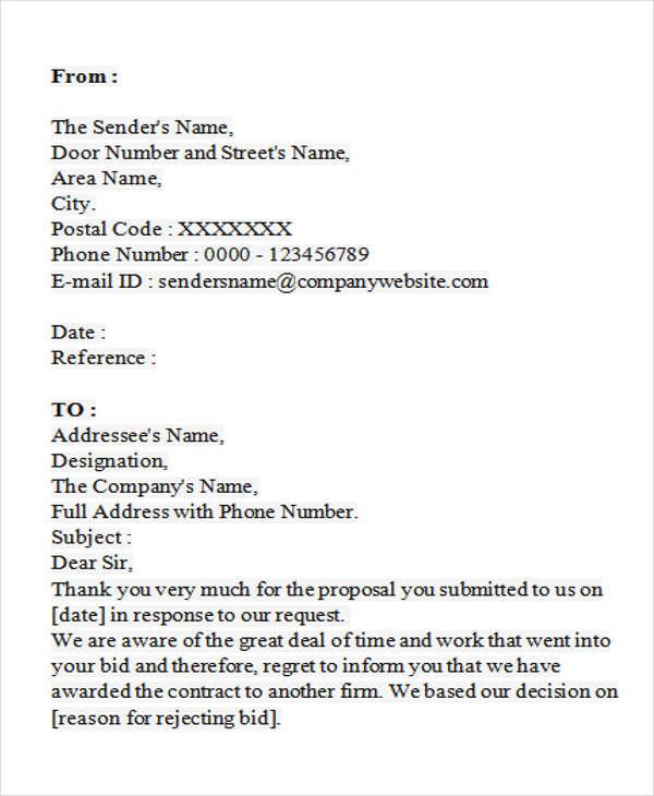 bid letter template - Romeolandinez