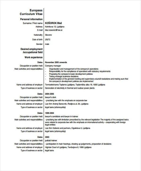 11+ Sample Law CV Templates - PDF, DOC Free  Premium Templates