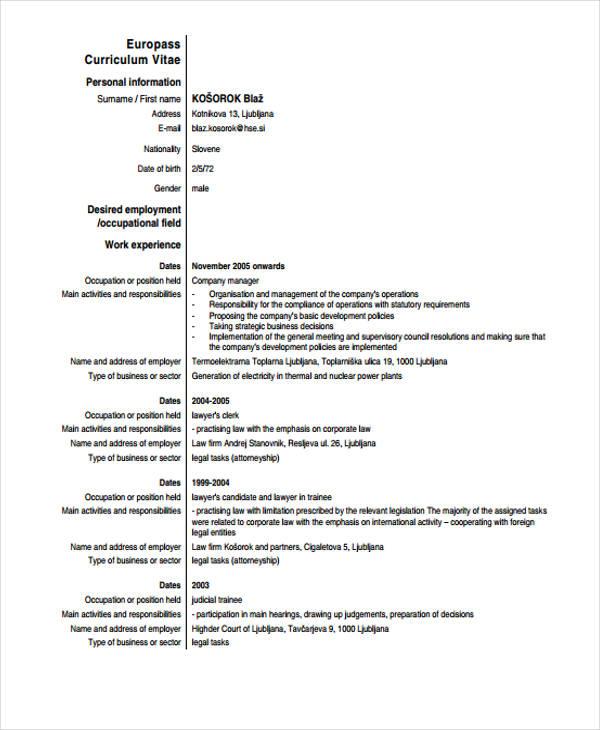 cv au format business model