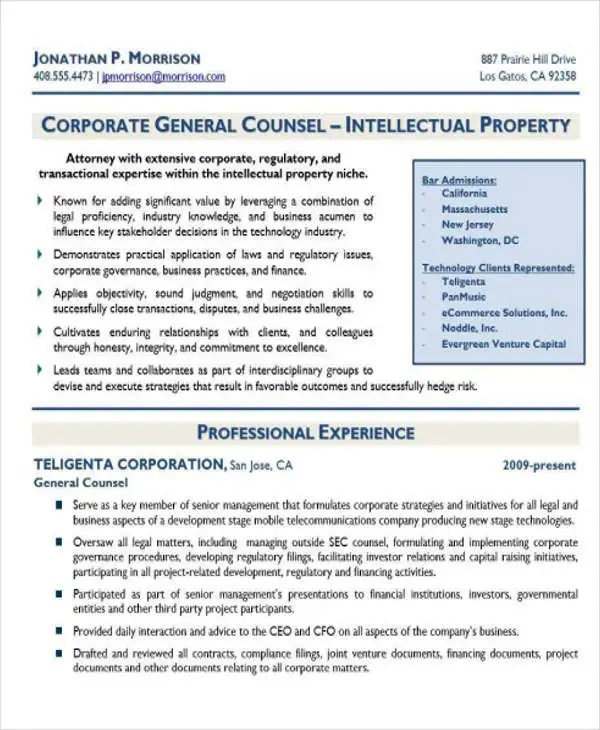 10+ Sample Legal Resume Templates - PDF, DOC Free  Premium Templates
