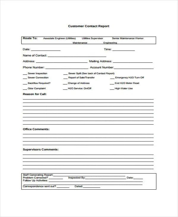 Contact Report Templates - 8+ Free Word, PDF Format Download Free