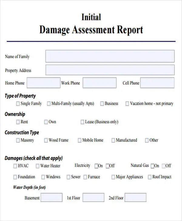 Damage Report Template - 10+ Free Word, PDF Format Download Free - assessment report format