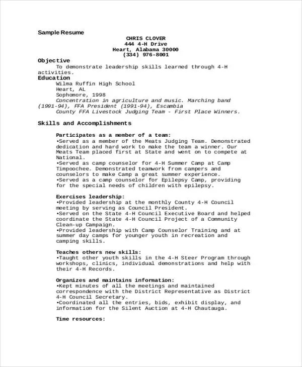 9+ Camp Counselor Resume Templates - PDF, DOC Free  Premium Templates - resume leadership skills