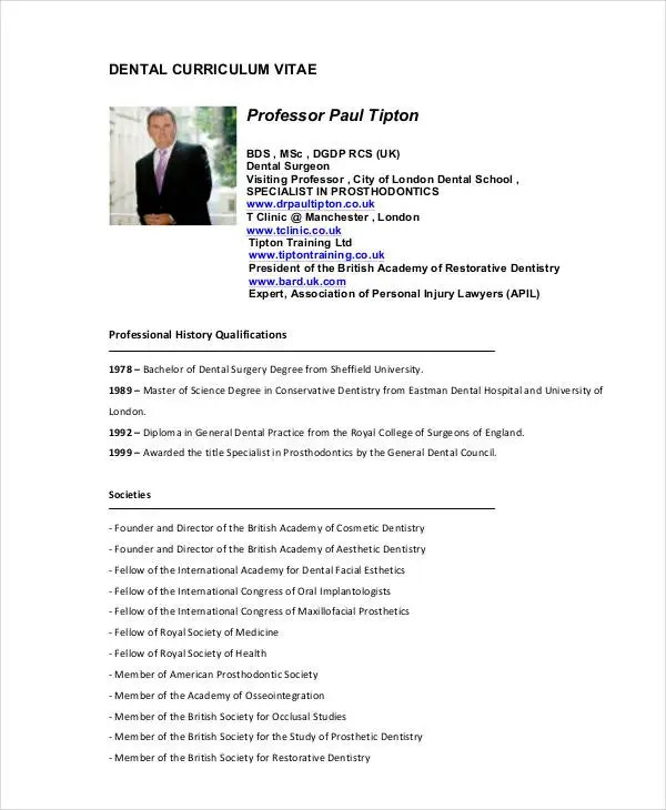 Dentist Curriculum Vitae Templates - 8+ Free Word, PDF Format - curriculum vitea sample