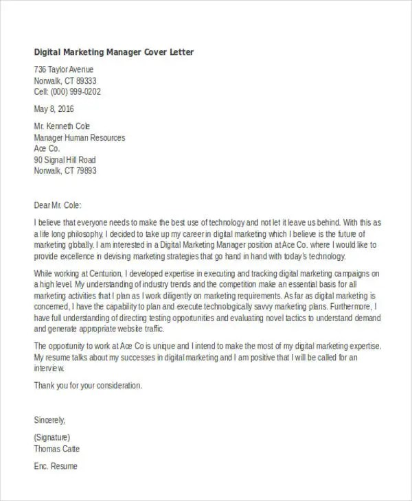 Cover Letter Sample Marketing Manager - Cover Letter Examples Library