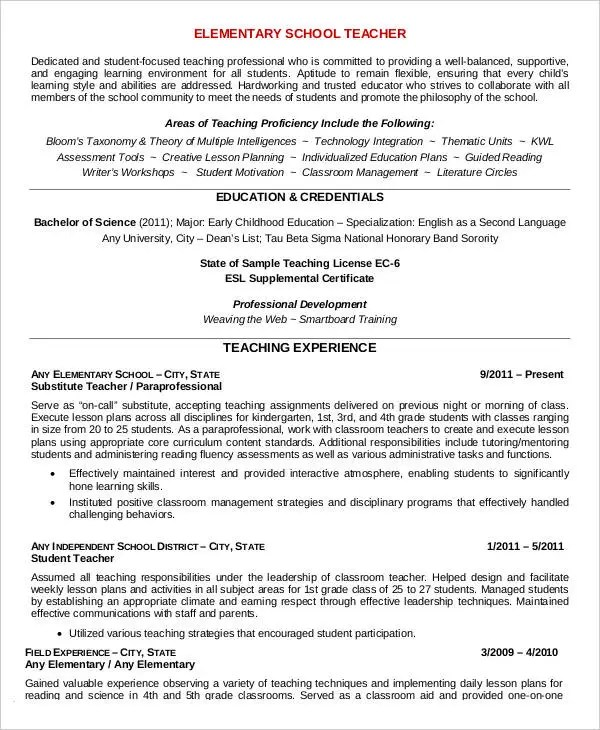 Teacher Resume Sample - 32+ Free Word, PDF Documents Download Free - Reading Teacher Resume