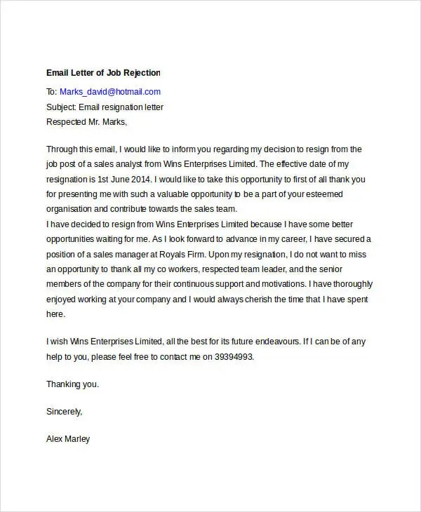 8+ Email Rejection Letters - Free Sample, Example Format Download