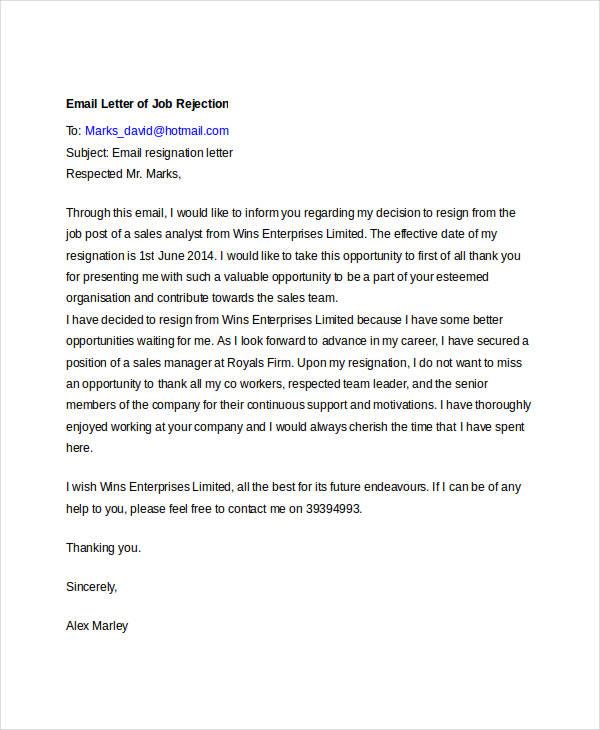 Job Rejection Letter Sample Pdf Proposal Rejection Letter Letters Free  Sample Letters 8 Email Rejection Letters