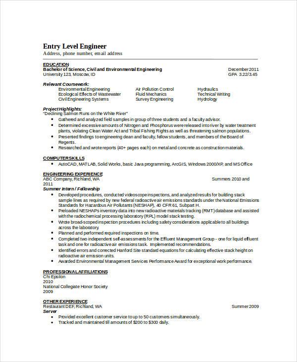 environmental engineer resumes