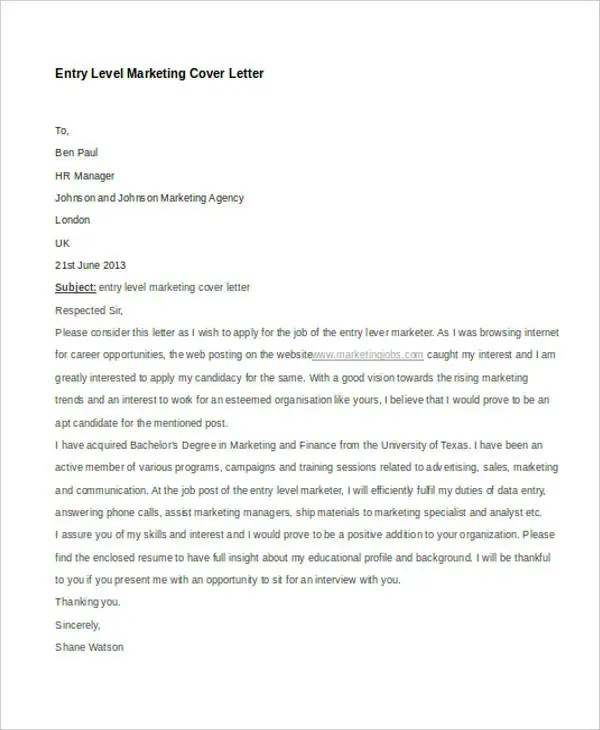 11+ Marketing Cover Letter Templates - Free Sample, Example Format - Entry Level Marketing Cover Letter